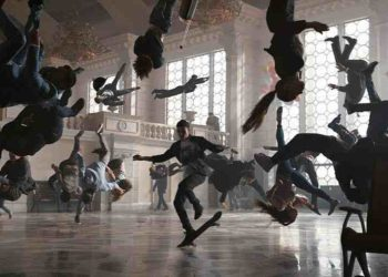 A skateboarder spins through the crowds in a train station in Apple Watch 3 ad